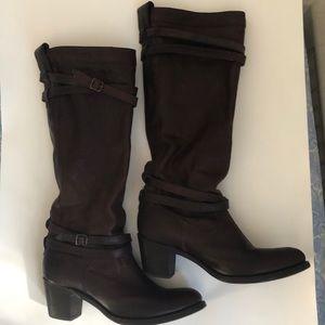 Frye Heel Strap Pull On Boots Dark Brown 11B EUC